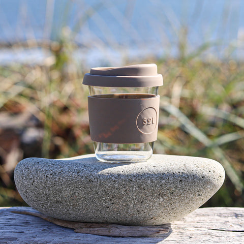 8 oz Glass Espresso Cup with Silicone Sleeve and Lid