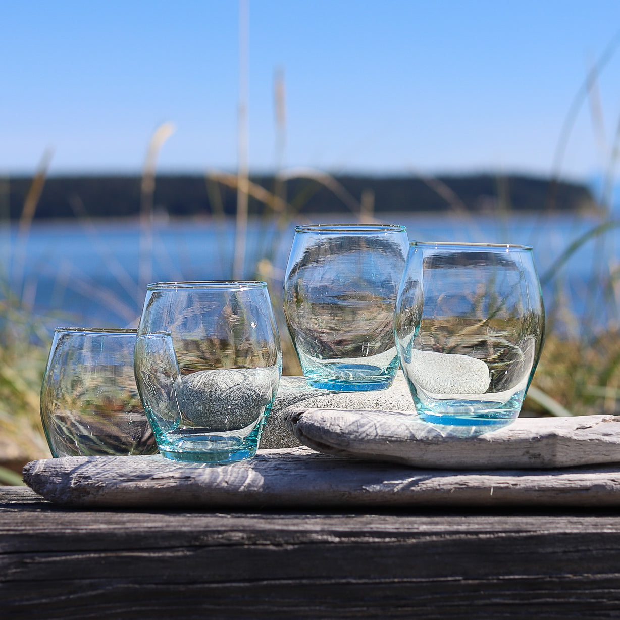 Hand Blown Glass from Recycled Glass! Sweet Sea Glass Wine Glasses