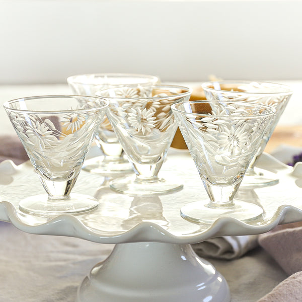 Vintage Cordial Glasses-Set of 5 Liqueur Glasses