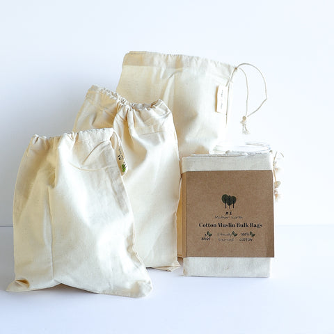 100% Cotton Reusable Bulk Bags and Bread Bag with Drawstring, Wooden Bead Fastener and Tare Weight Tag Canada