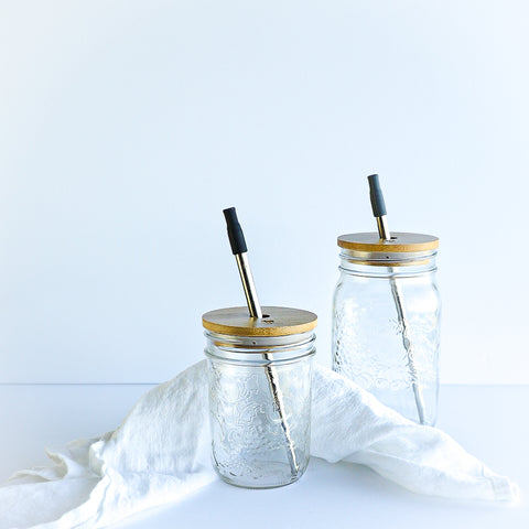 Bamboo Mason Jar Lids with Straw Hole