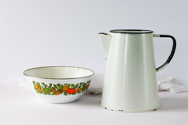 Vintage Enamel Jug or Pitcher and Bowl