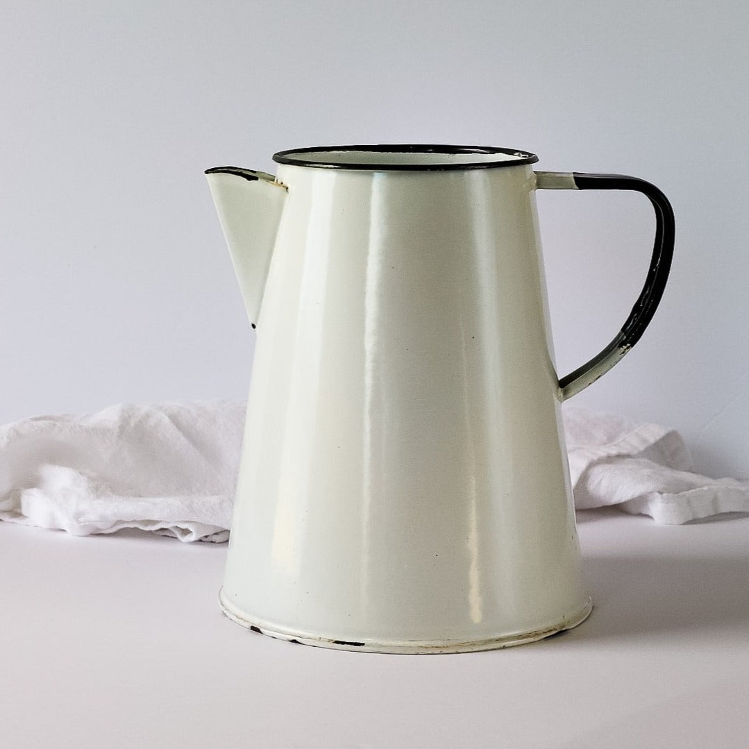 Vintage French Farmhouse Enamel Pitcher/Jug