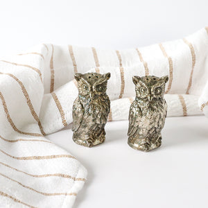Silverplate Horned Owl Salt and Pepper Shakers