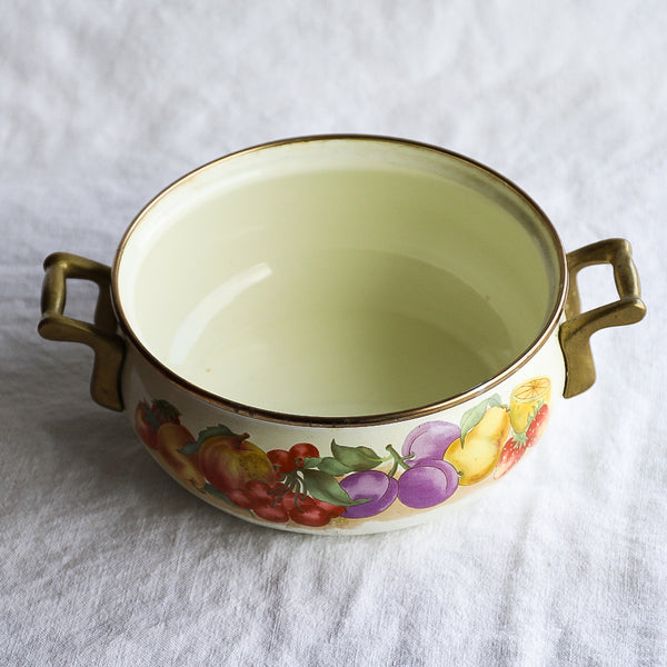 Vintage Enamel Pot with Brass Handles and Rim