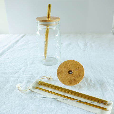 Reusable Straws with Brush and Storage Bag