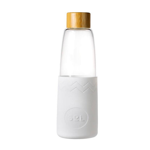 Glass Water Bottle with Bamboo Lid and Silicone Sleeve