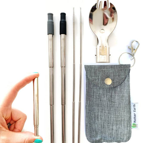 Collapsible Straw and Spork Kit in Travel Pouch