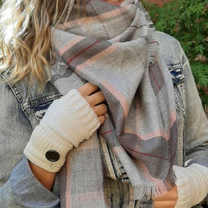 Blanket Scarf-Pink and Grey