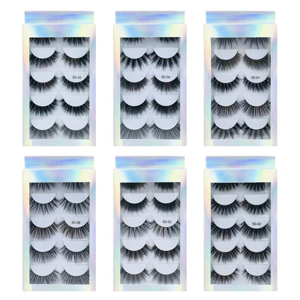5 Pairs False Eyelashes Pestañas