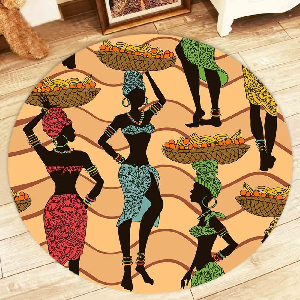 Sexy African American Woman Round Rugs