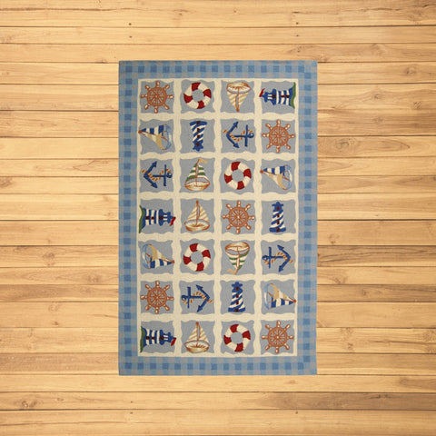 Blue Marina Novelty Area Rug Rectangle