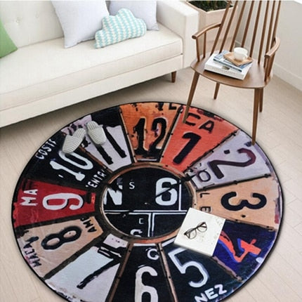 Round Carpet Vintage Wall Clock Living Room