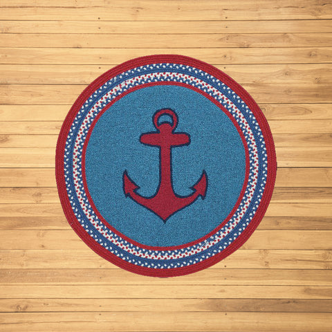 Anchor Hand-Braided Blue Rug