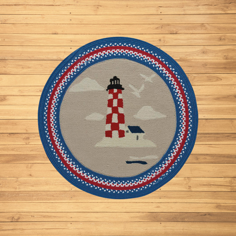 Lighthouse Hand-Braided Blue/Ruby Area Rug