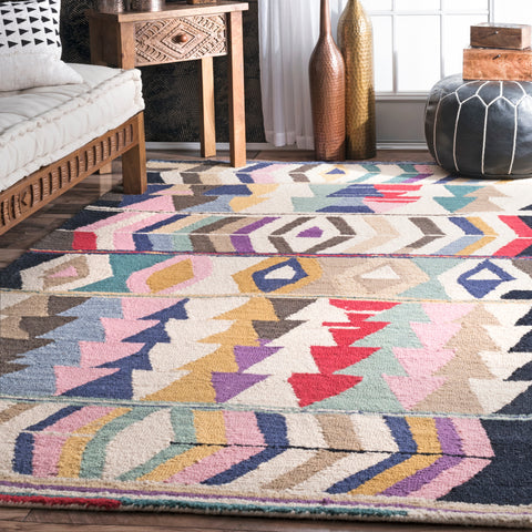 Multi Geometric Tribal Tikal Area Rug