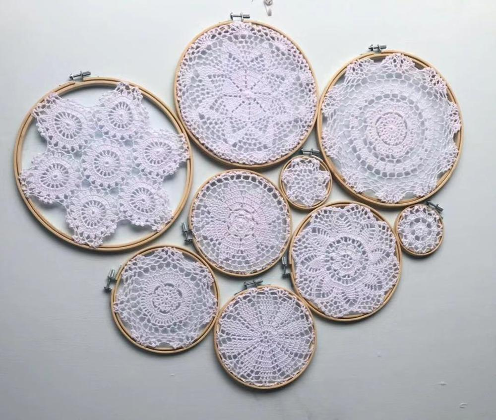 1 set DIY tapestry wall hanging Lace Dream Catcher Set Wedding Background white