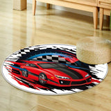 Smooth Rugs speeding race car with abstract motion