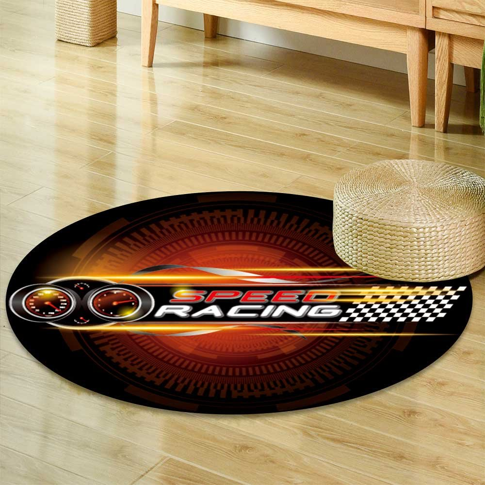 Speeding racing car with checkered flag racetrack design