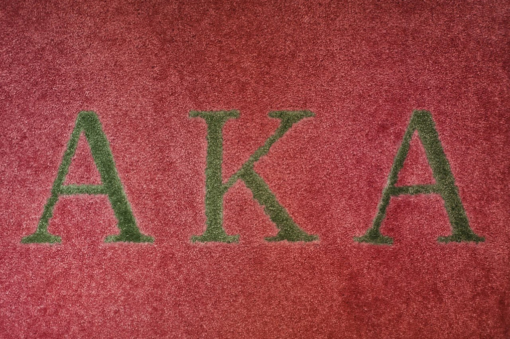 carpet letters. alpha kappa pink with green letters carpet g