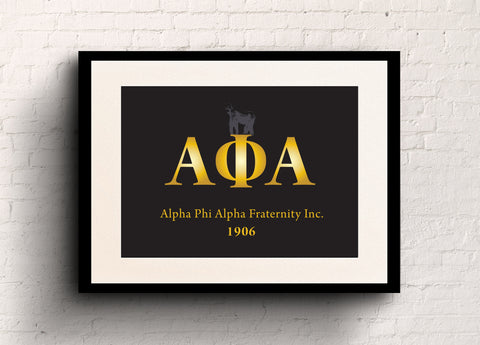 Alpha Phi Alpha Black with Gold letters