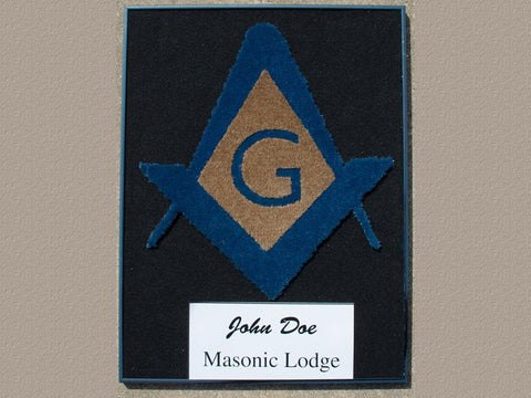 Masonic Framed Carpet Art – Masonic Symbol with Black Frame