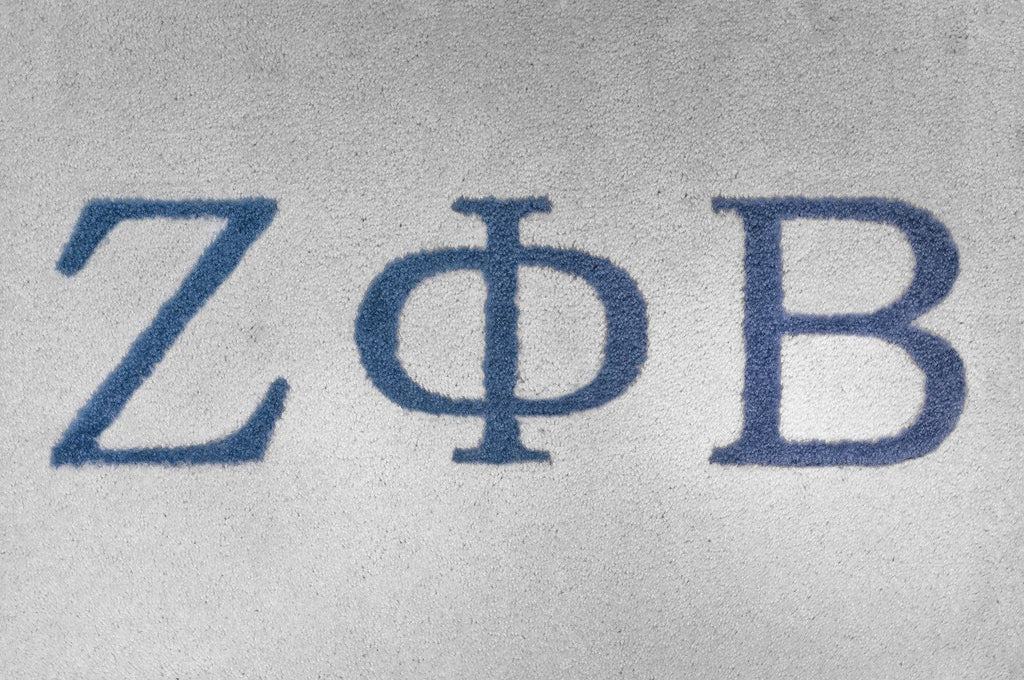 Zeta Phi Beta White with Blue Letters