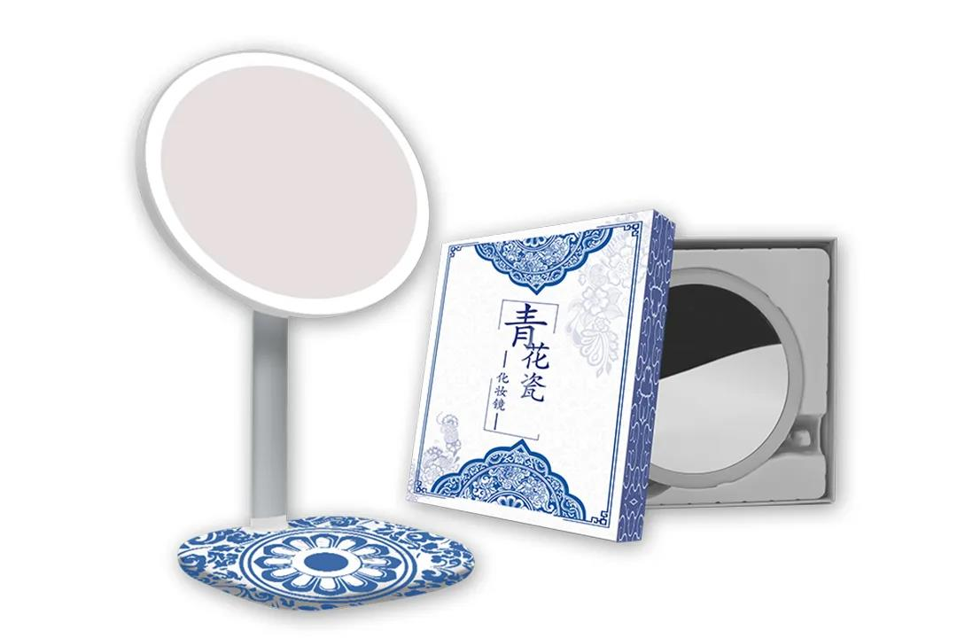National tide comes - blue and white porcelain intelligent makeup mirror