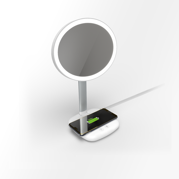 Lamp lights mirror with wireless charging