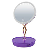 led lighted makeup mirror with 10X Magnifiying base storage drawer