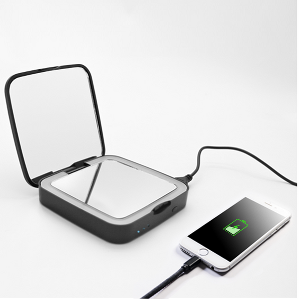 Power bank pocket led lighting mirror