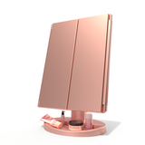 Three sides face folded LED makeup mirror 2X3X10X magnifying sensor screen touch botton store base stand table