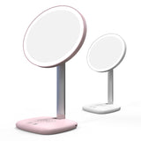 Desk mirror with lights lamps and wireless charger for phone charging
