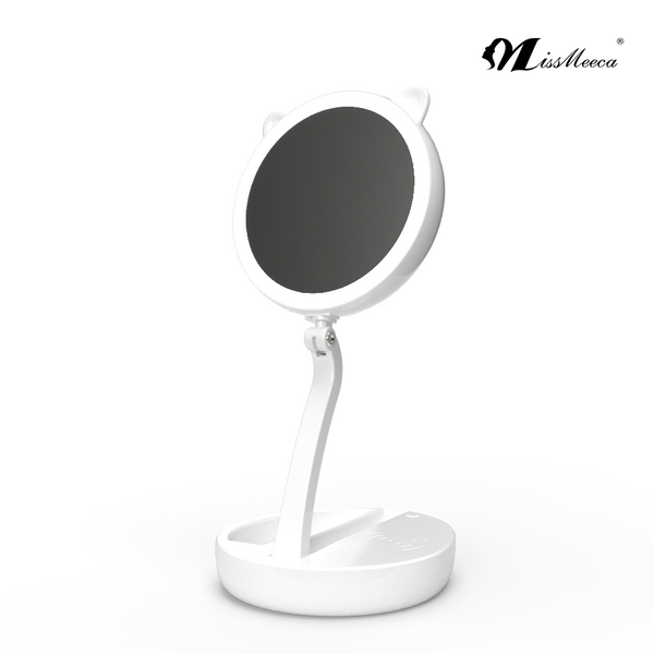 Wholesalers LED light mirror 7x magnifying cute custom double side cosmetic makeup mirror folding travel