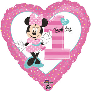 "Standard ""Minnie - 1st Birthday"" Folienballon Rund, 43cm"