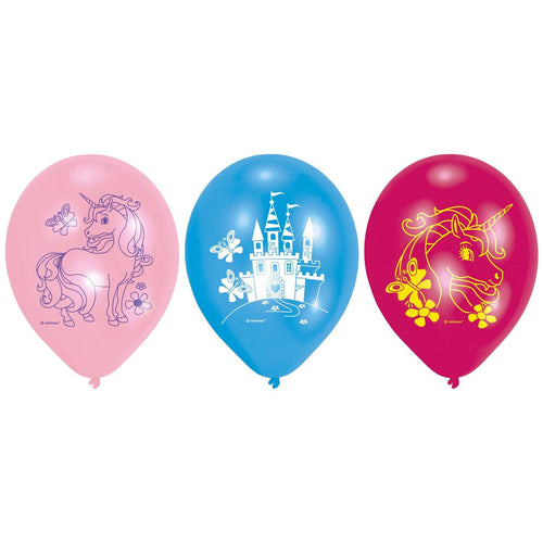 6 Latex balloons Unicorn 22,8 cm/9