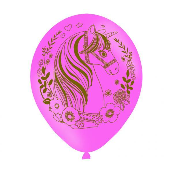 6 Latexballons Magical Unicorn Globaldruck 27,5 cm/11