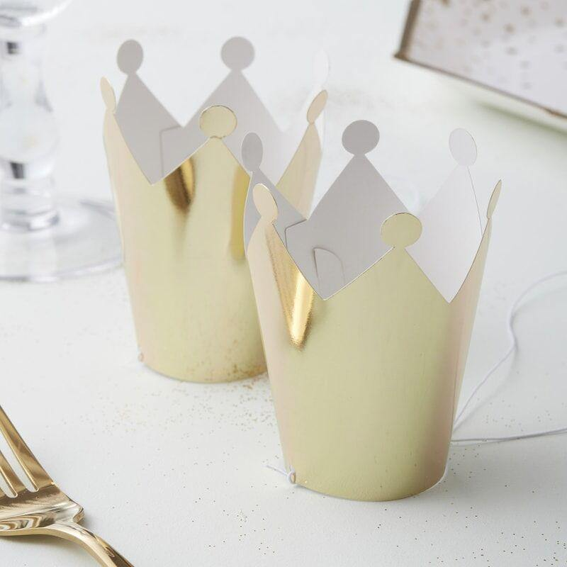 Gold Foiled Mini Party Crowns - Metallisch Star image