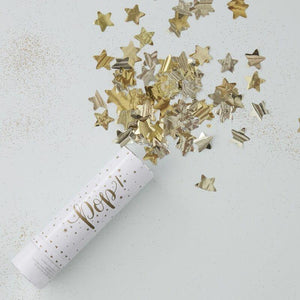 Gold Compressed Air Confetti Cannon Shooter - Metallisch Star image