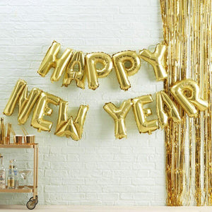 Gold Happy Neue Year Balloon Wimpelkette image