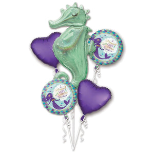 Bouquet Mermaid Wishes Seahorse Folienballon