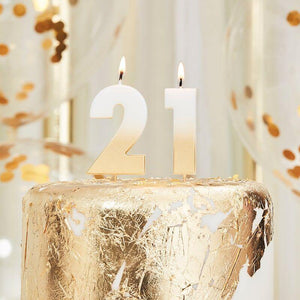 21st Gold Ombre Birthday Cake Candle image