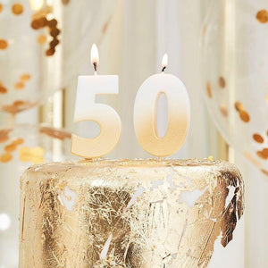 50th Gold Ombre Birthday Cake Candle image