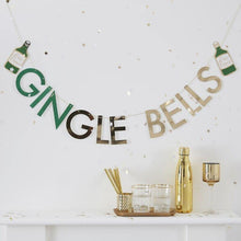 Lade das Bild in den Galerie-Viewer, Glitter Gingle Bells Christmas Gin Party Wimpelkette - Gold-Glitzer image