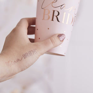 Team Bride Klebe-Tattoos für JGA in Rosegold
