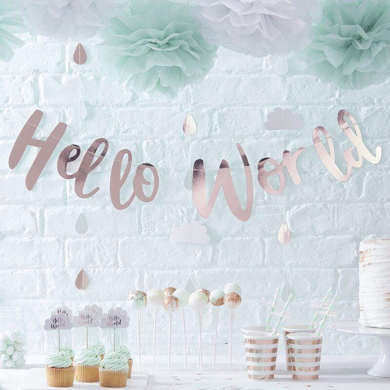 Hallo Welt Rose Gold Babyparty Wimpelkette image