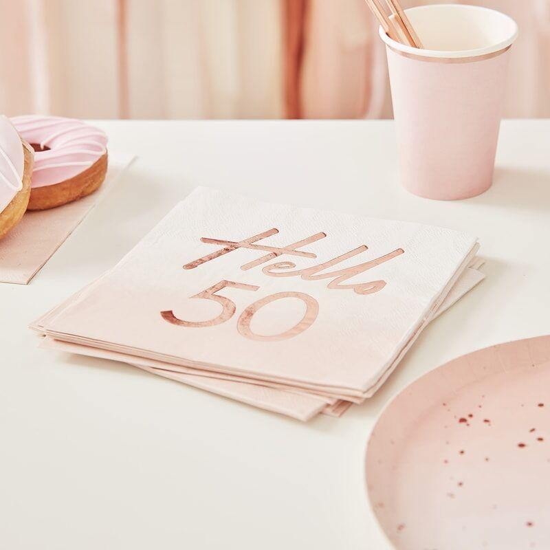 Hello 50 Birthday Party Napkins Rose Gold image