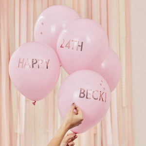 Pink and Rose Gold Personalised Balloons Kit image