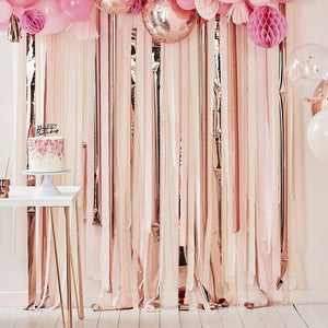 Pink And Rose Gold Party Streamers Backdrop image