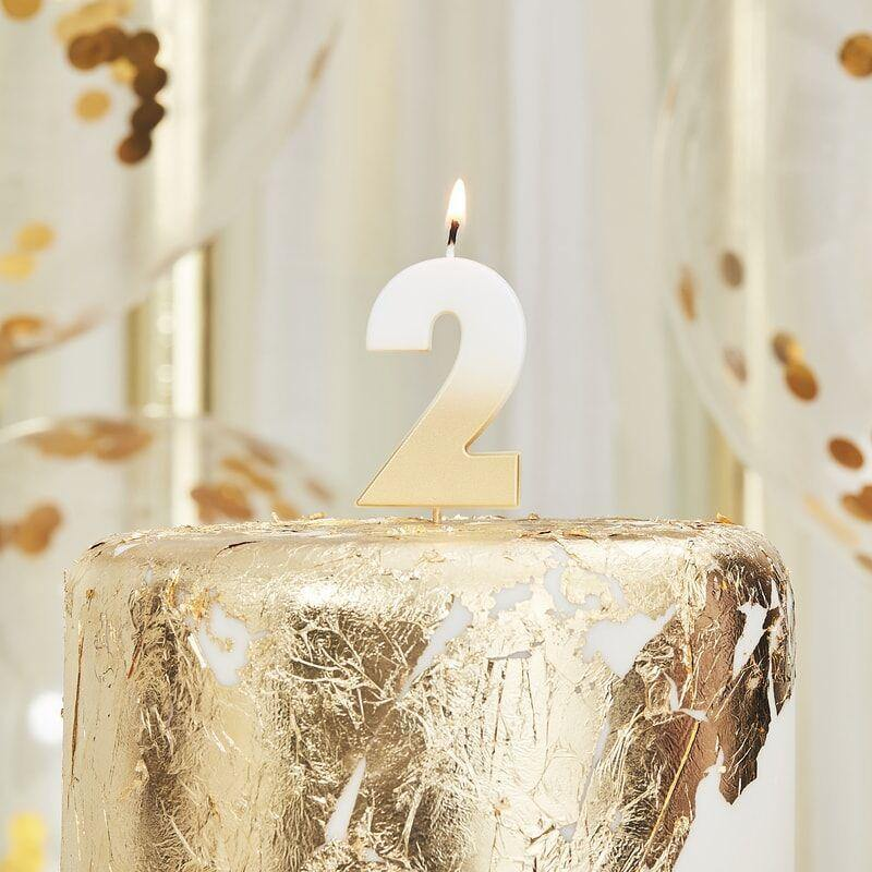 Gold Ombre 2 Number Birthday Candle image
